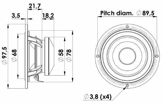 ScanSpeak Silver Series 10M-4614G06 Mechanical Drawing