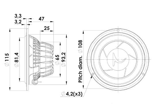 Scan Speak 11M4631G Mechanical Drawing 115mm diameter