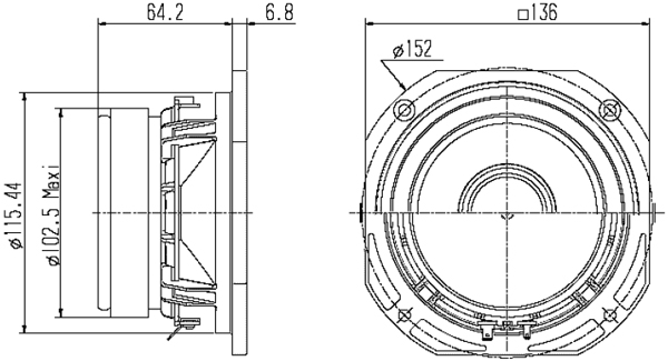 Mechanical drawing 136mm square