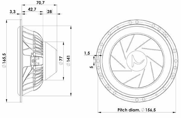 ScanSpeak Silver Series 16W-4531G06 Mechanical Drawing