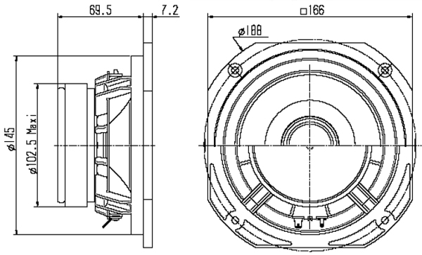 Mechanical drawing 166mm square