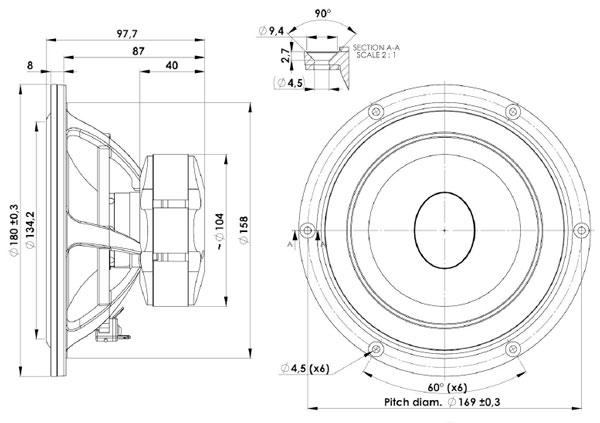 Scanspeak Ellipticor 18WE/8542T-00 Mechanical Drawing