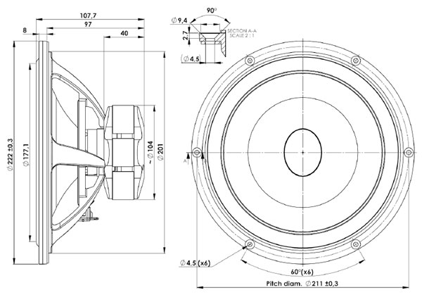 Scanspeak Ellipticor 21WE/4542T-00 Mechanical Drawing