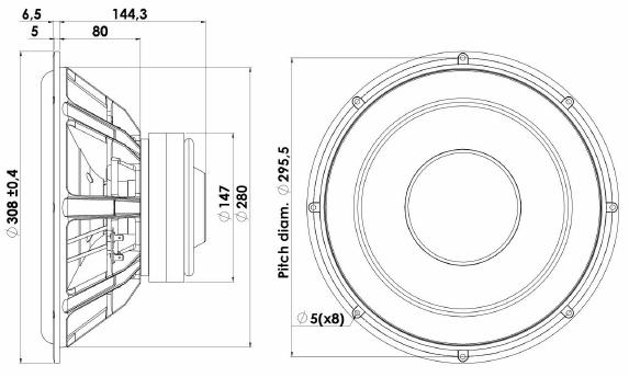ScanSpeak Silver Series 30W-4558T06 Mechanical Drawing
