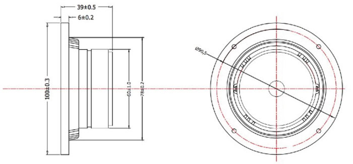 Mechanical drawing 100mm