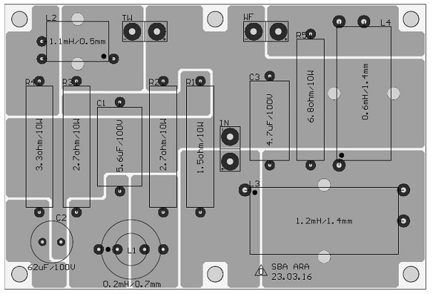 Satori Ara 2-Way Speaker Kit Crossover Schematic