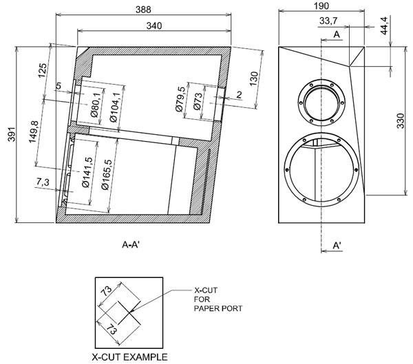 Satori Ara 2-Way Speaker Kit Cabinet Drawing