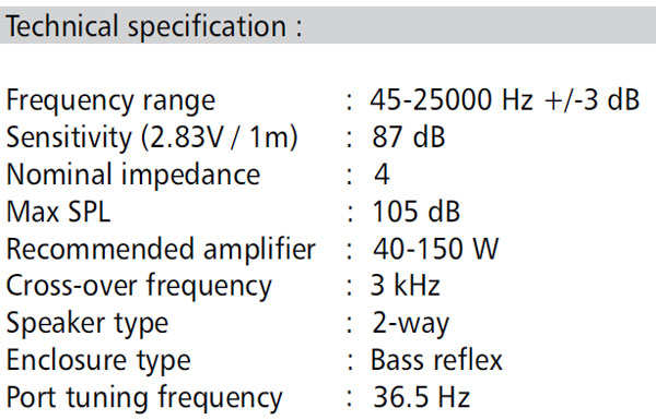 Satori Ara 2-Way Speaker Kit Parameters
