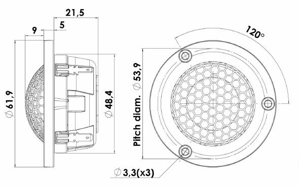 ScanSpeak Silver Series D3004-602006 Mechanical Drawing