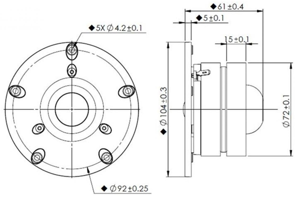 Mechanical drawing 104mm