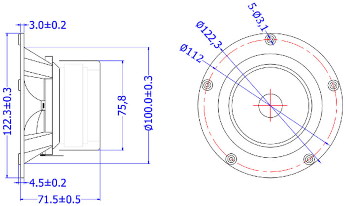 Mechanical drawing 122.3mm