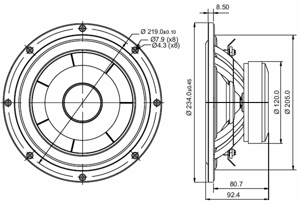 Mechanical Drawing - 234mm outside