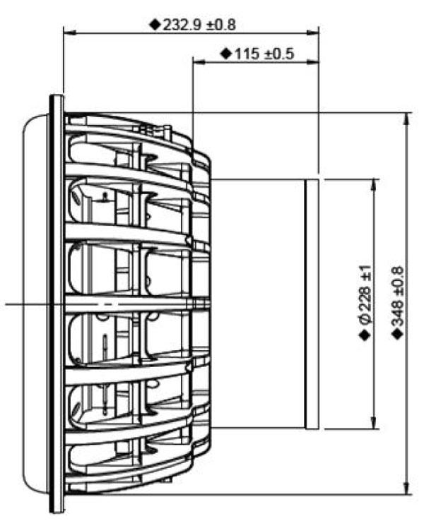 Peerless STW-350F-188PR01-04 Mechanical Drawing- side
