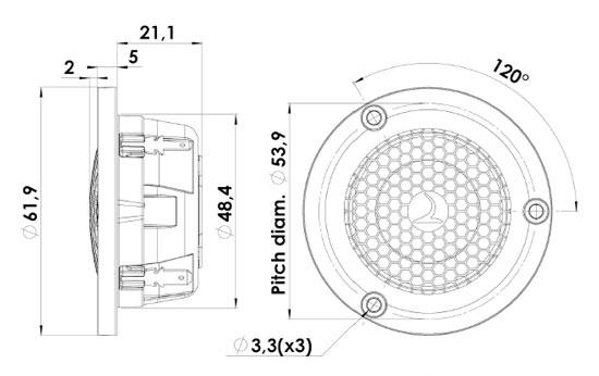 D3004/604005 Gold Series Beryllium Dome Tweeter Mechanical Drawing