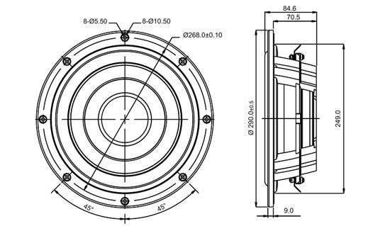 Sb Acoustics Sw26dbac76 8blk 10 Subwoofer