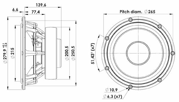Scan-Speak 28W/4878T Revelator 11 Mechanical Drawing