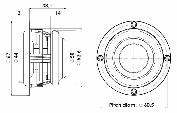Scanspeak Discovery 5F/8422T-01 Mechanical Drawing