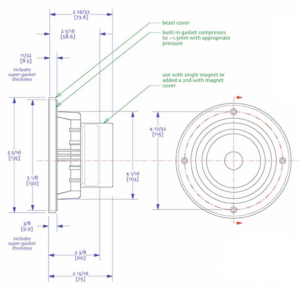 Mechanical drawing 135mm