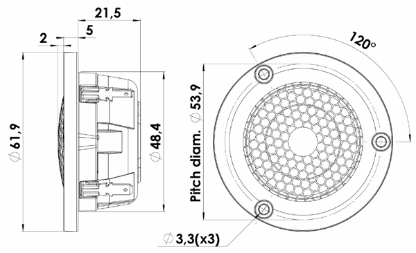 ScanSpeak Illuminator D3004/6040-00 Beryllium Dome Tweeter Mechanical Drawing