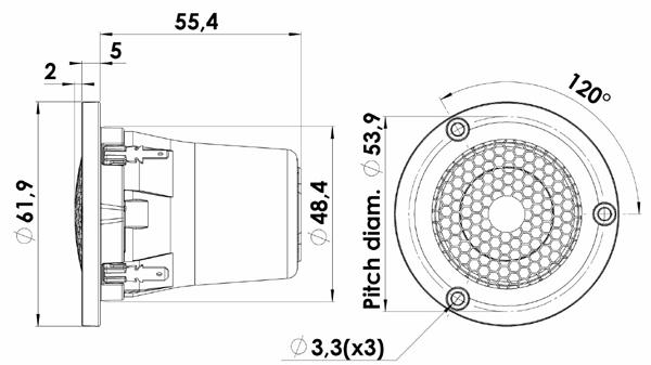ScanSpeak Illuminator D3004/6040-10 Beryllium Dome Tweeter Mechanical Drawing