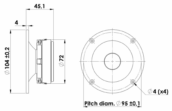 """Scan-speak Discovery H2606/9200 Horn Loaded 1"""" Textile Dome Tweeter Mechanical Drawing"""