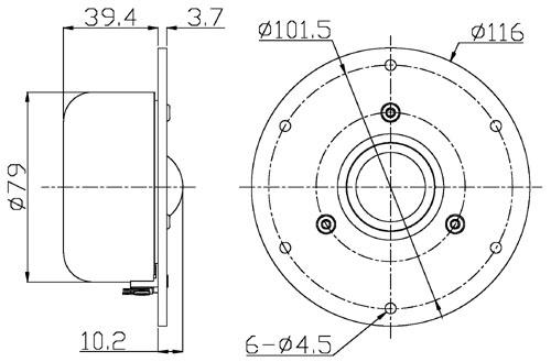 Mechanical drawing 116mm