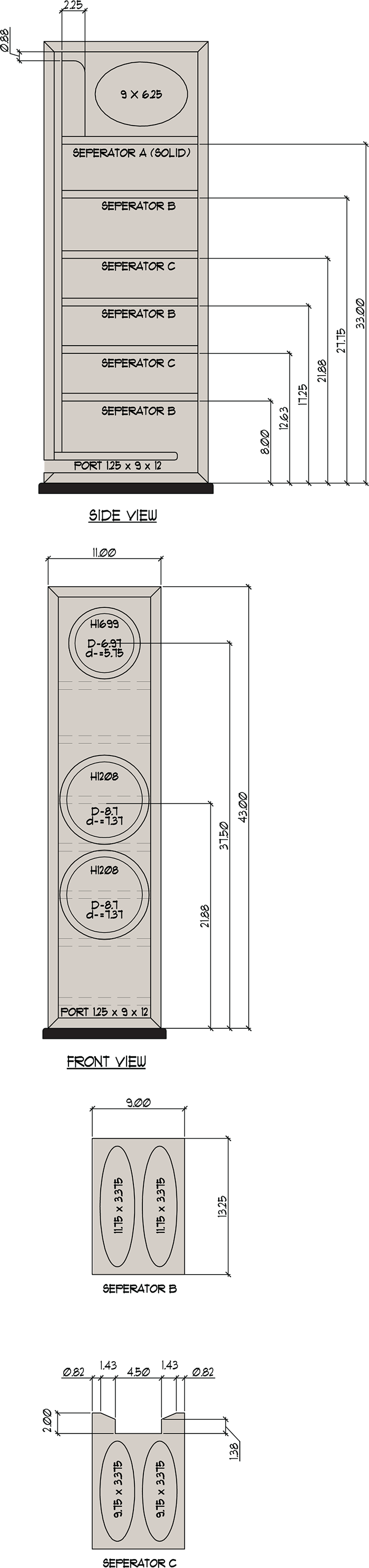 CX871 Cabinet Drawing