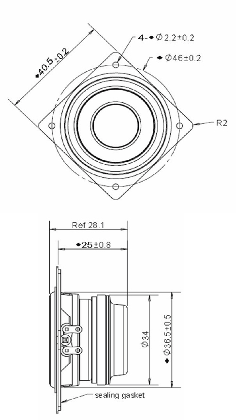 Mechanical drawing 40.5mm square