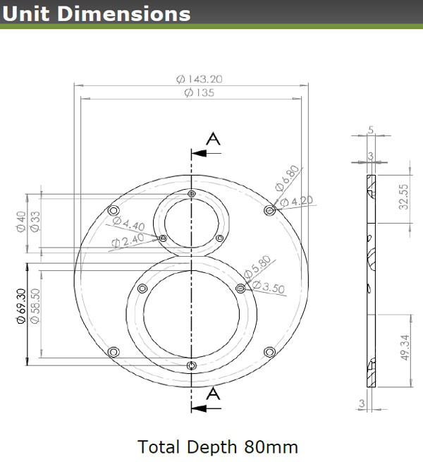 Mechanical drawing.  Large 143.2mm circle with dome midrange and tweeter