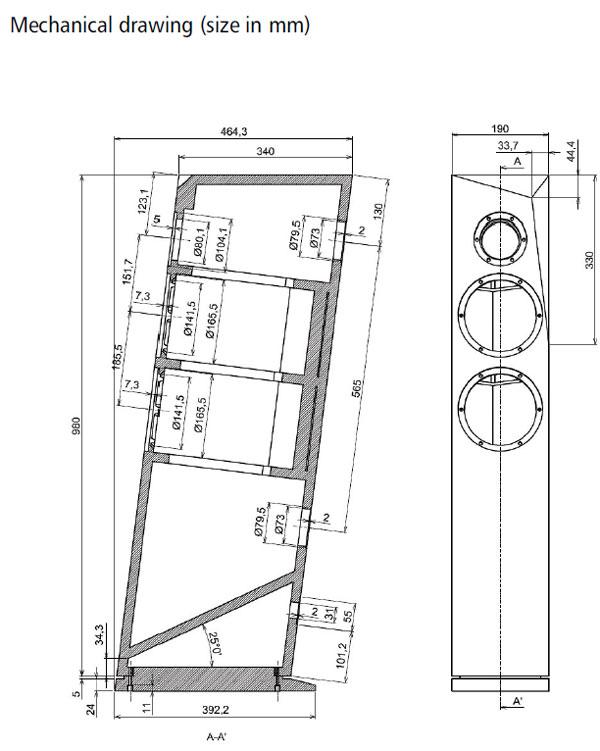 Satori Ara 2-Way Speaker Kit Cabinet Drawing