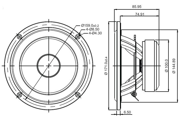 Sb Acoustics Sb17mfc35 4 6 Poly Cone Woofer