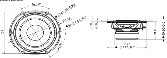 Mechanical drawing 152mm truncated