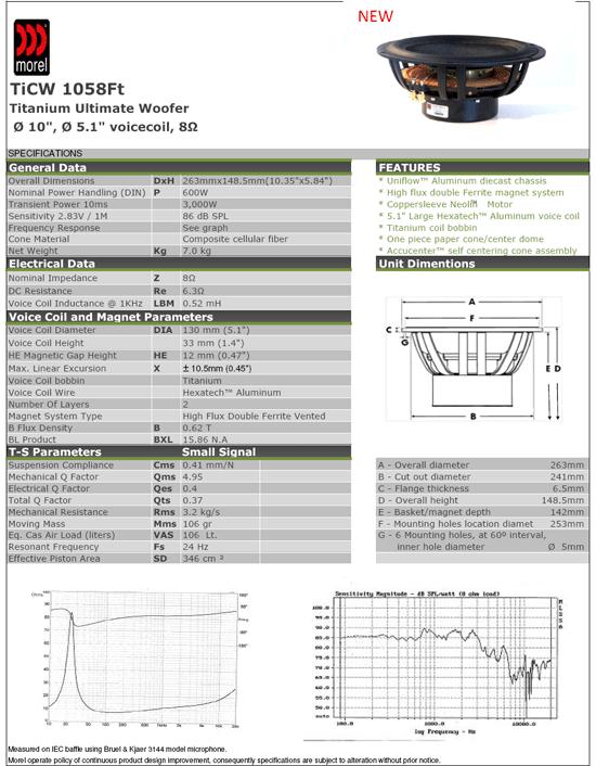 Morel TICW1058 spec sheet
