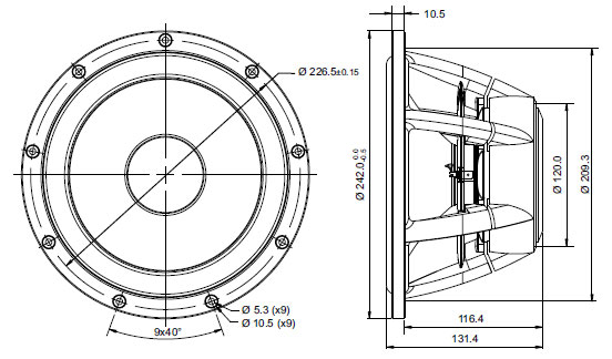 Mechanical drawing.  Outside 242mm